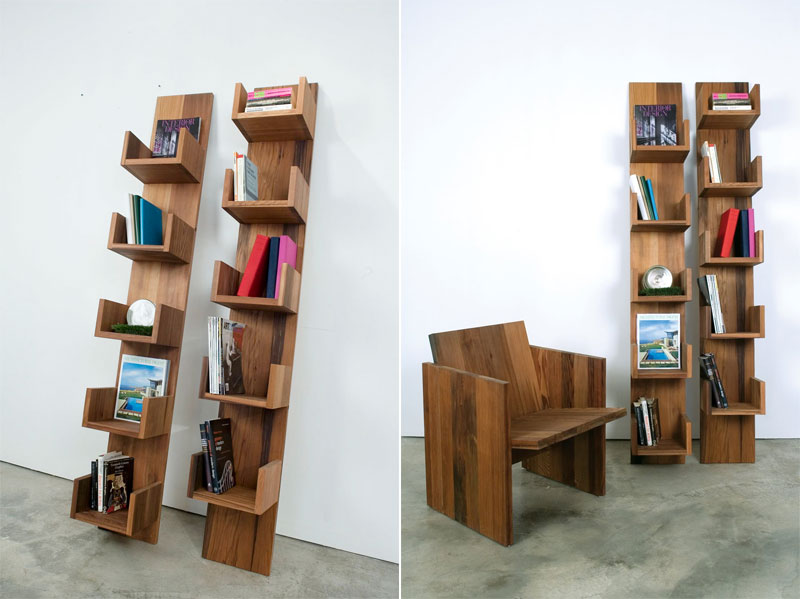 8. Bookshelves Furniture made of Reclaimed Redwood by Deger Cengiz