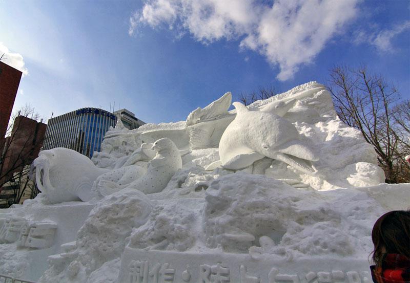 8. Sea mammals snow sculpture at the 63rd Sapporo Snow Festival