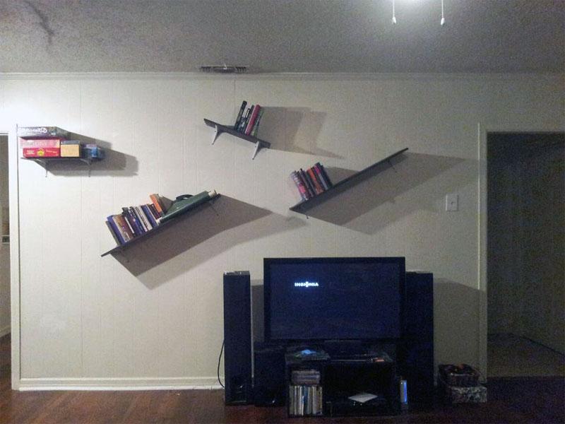 5. Slanted bookshelves