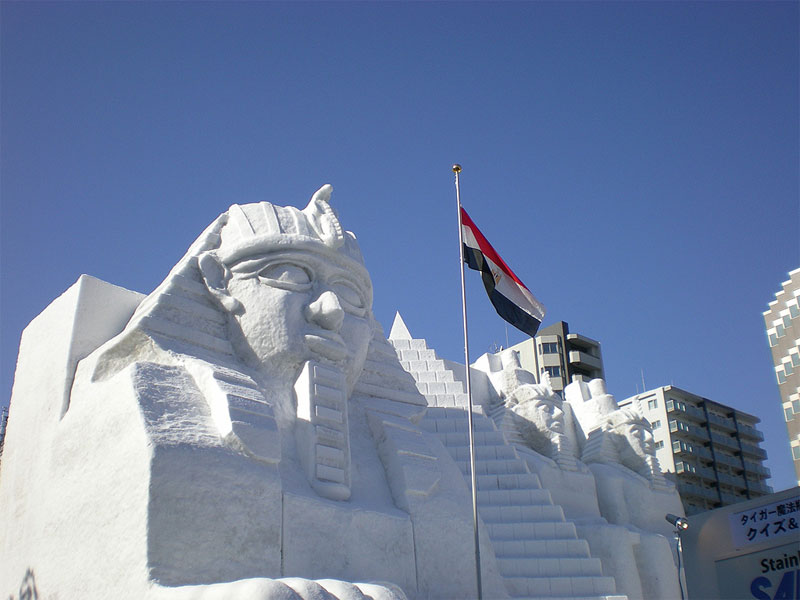 2. Snow sphinx sculpture at 59th Sapporo Snow Festival. Photo by Keiko S