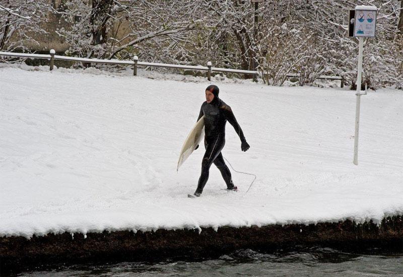 Surfing the winter river. Photo by Dieter Verstl
