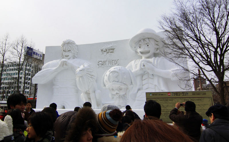 10. UBH TV channel snow bas-relief depicting channel's most famous characters