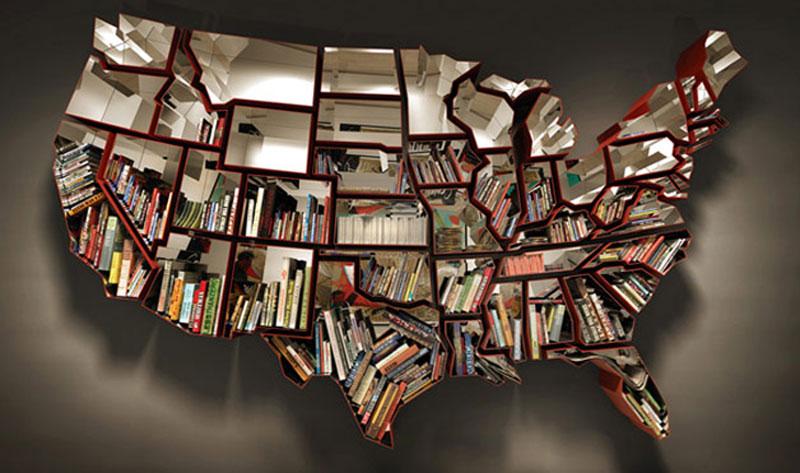 6. USA-shaped bookshelf