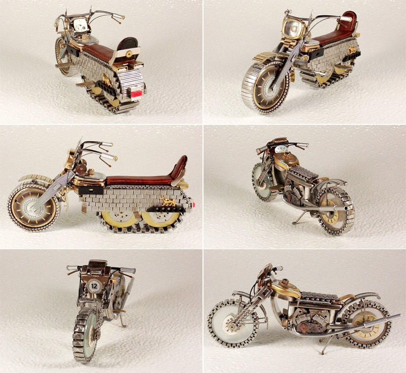 Motorcycles made of watch parts by Dmitriy Khristenko