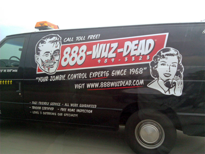 2. Zombie extermination service ad on the side of the van