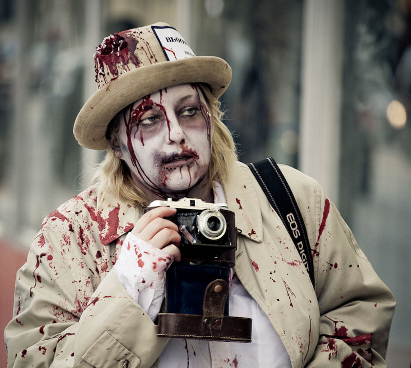 15. Zombie reporter at the Toronto Zombie Walk 2008. Photo by Sam Javanrouh