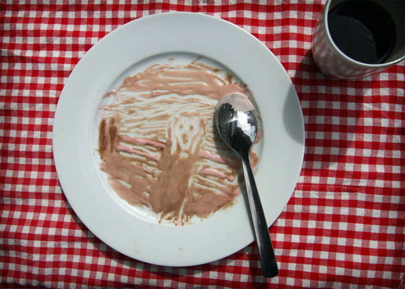 5. Edvard Munch's The Scream painted with the chocolate ice-cream on the white plate