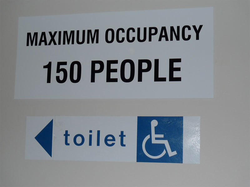 5. Maximum occupancy 150 people. Do you supposed to enter this toilet and count all who are inside?