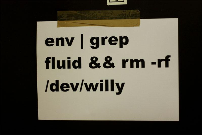 2. The nerdiest toilet sign. Written in Unix bash script language