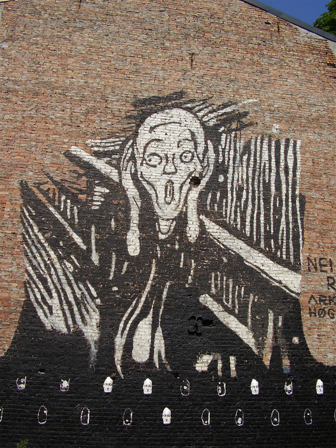 3. The Scream graffito on the brick wall in the central Oslo, Norway