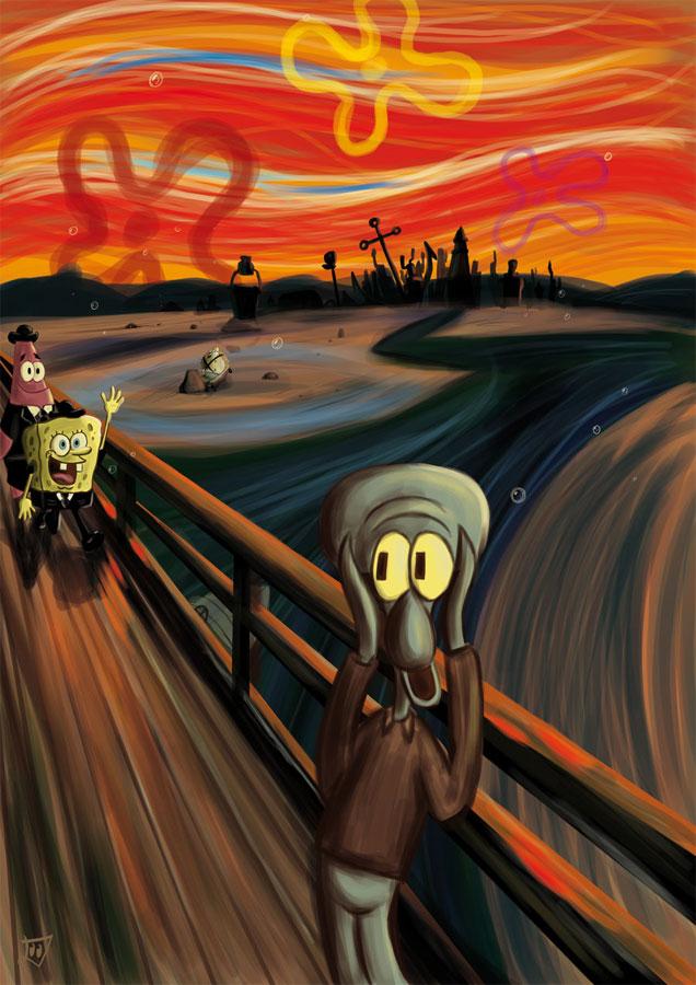 7. Skrikini bottom by Marek Dolata. SpongeBob themed take on the Munch's masterpiece