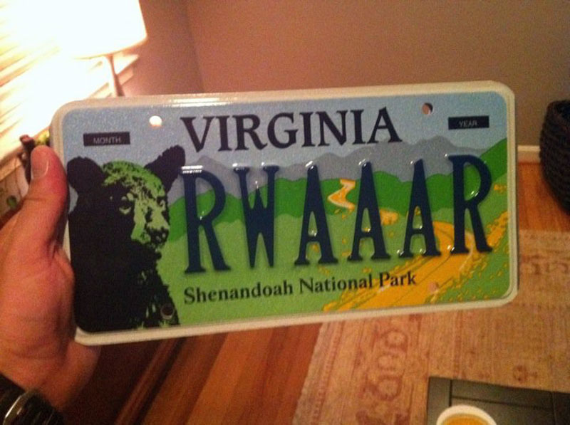 3. Messing with the Virginia Shenandoah National park commemorative license plate design