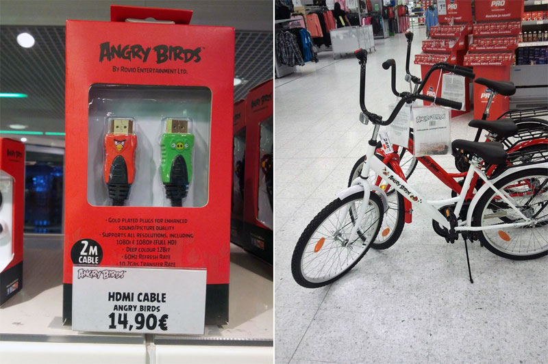 1. Angry Birds branded HDMI cables and bicycles