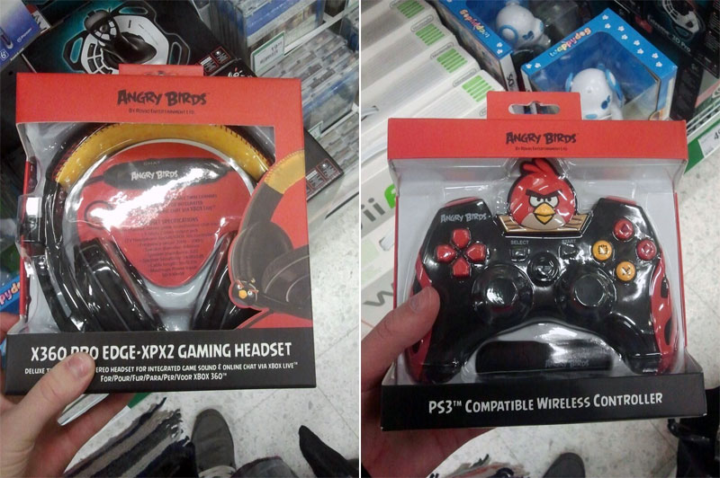 9. Angry Birds X360 headset and PS3 controller