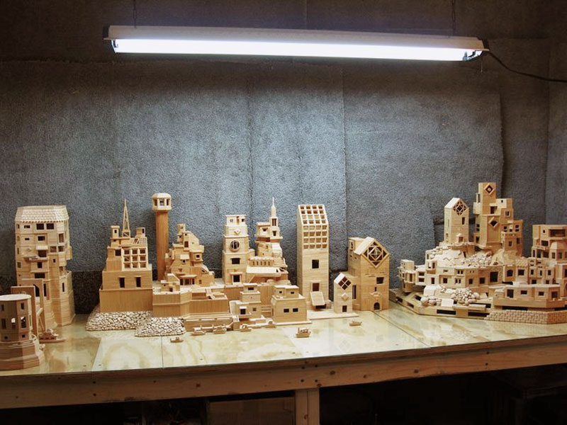 city made of toothpicks