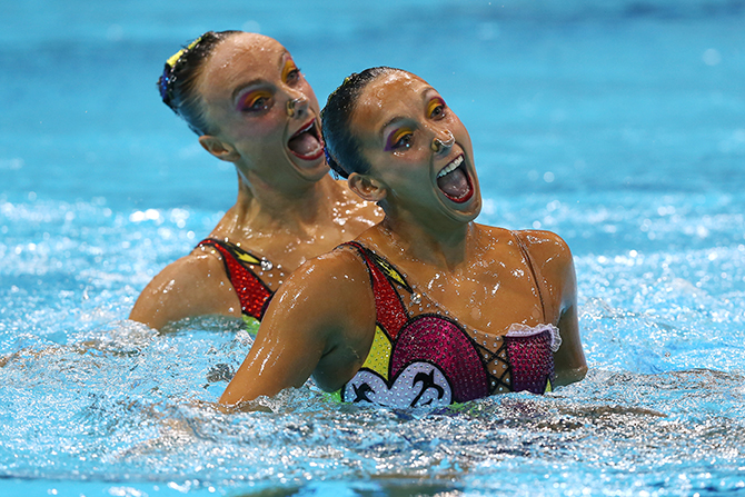 Clothespins in synchronized swimming