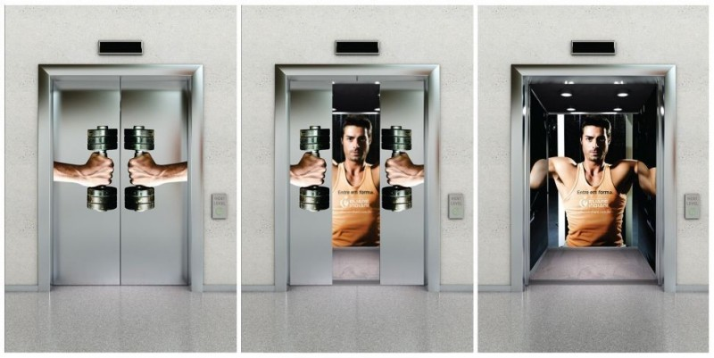 Creative and striking advertising in elevator