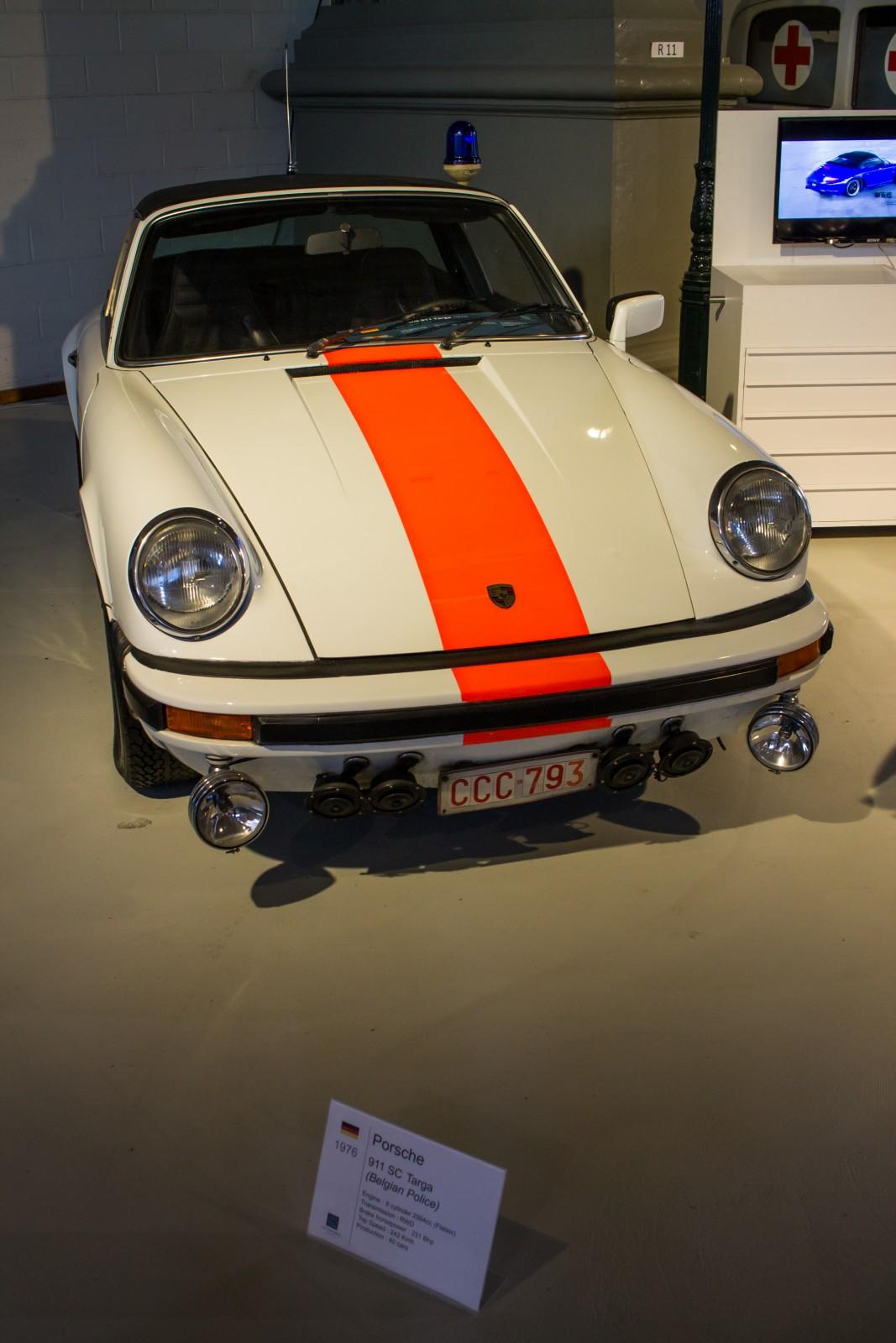 Belgian police Porsche displayed in the Autoworld Brussels