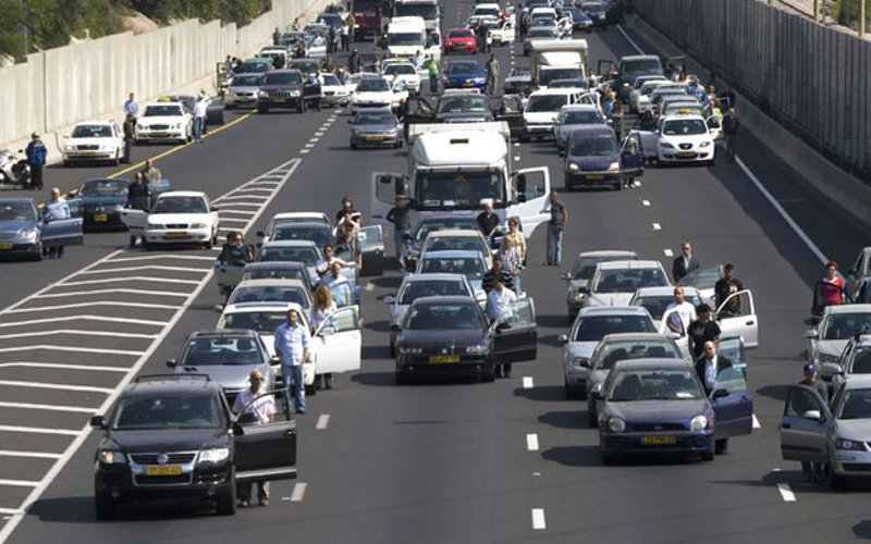 On Holocaust Remembrance Day, a siren goes off at 10 AM in Israel in memory of the 6,000,000 Jews who were murdered in the Holocaust. As the siren wails all activity comes to a halt, including traffic on major highways.