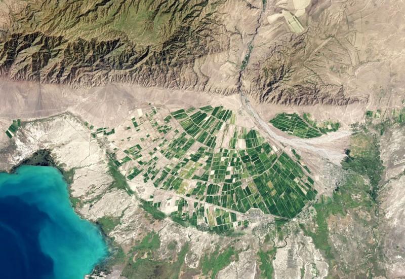 A small area of fertile land in the Almaty region, Kazakhstan.