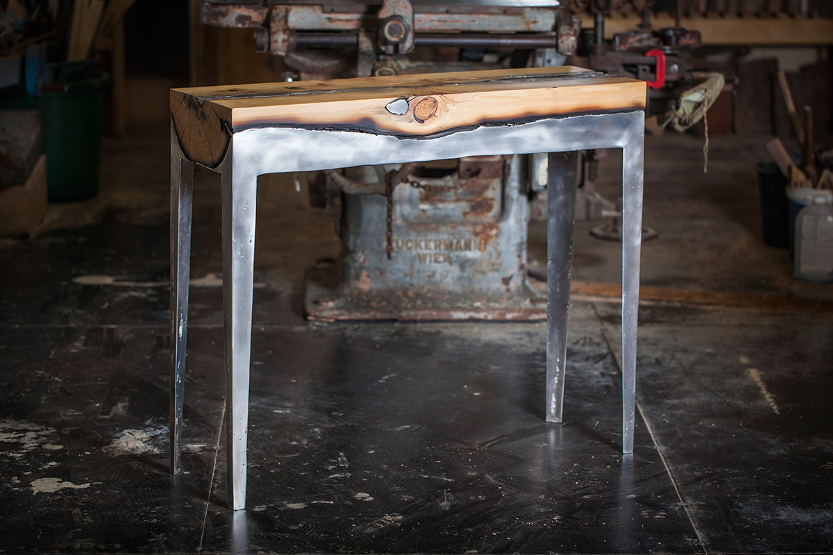 Aluminum and tree trunks furniture
