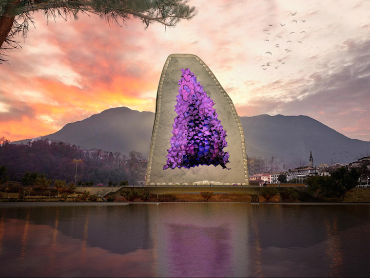 Hotel design inspired by amethyst gem