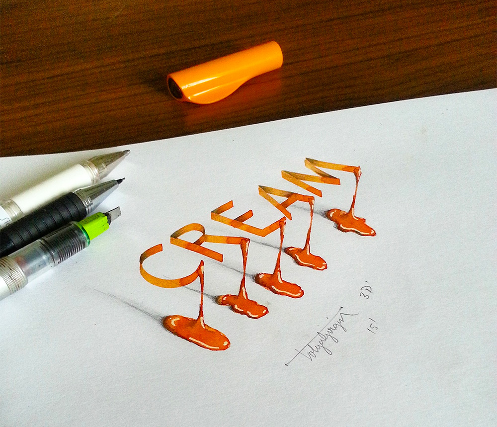 3D calligraphy illusions