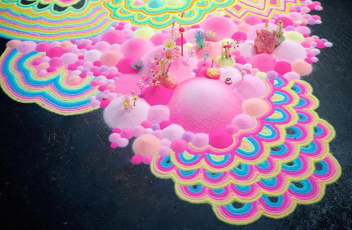 Spectacular glitter and sugar floor installations