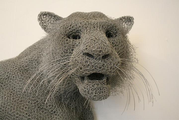Galvanized wire animal sculptures