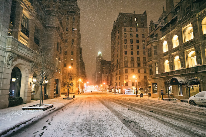 Snowbound and empty New York City
