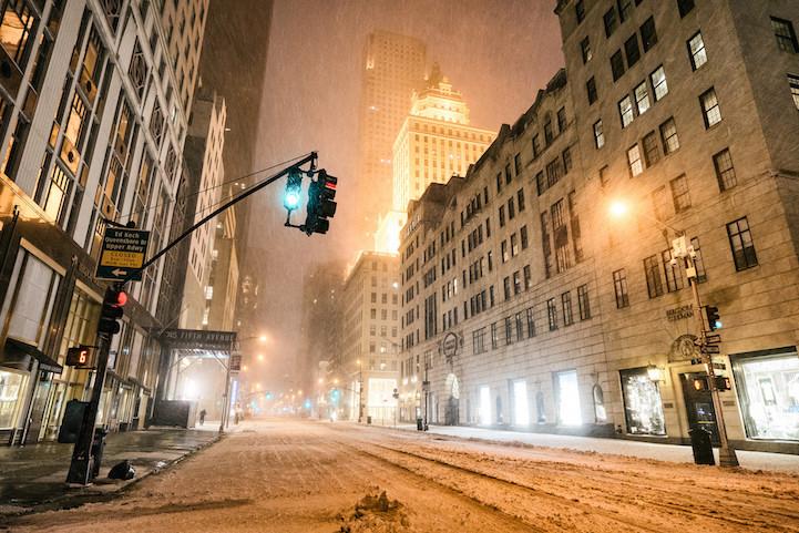 Snowbound and empty New York City