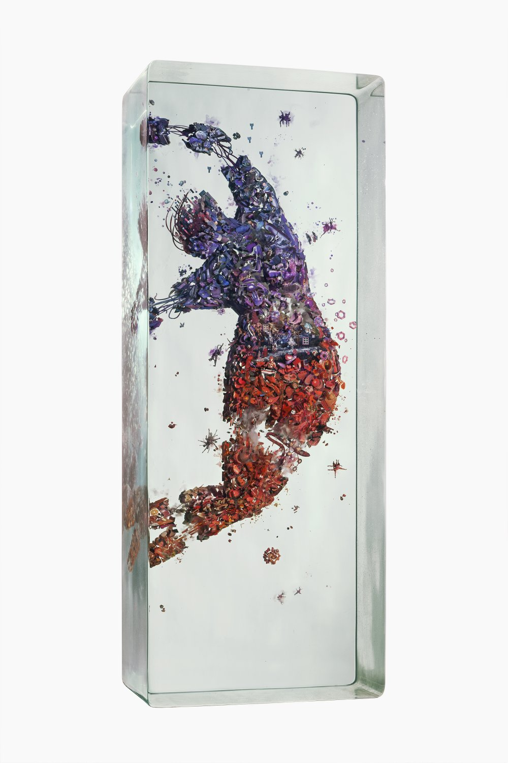 3d collage of human figures in multiple layers of glass