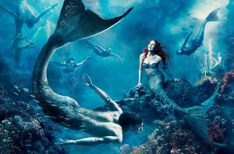 Julianne Moore as Ariel and Michael Phelps as a merman