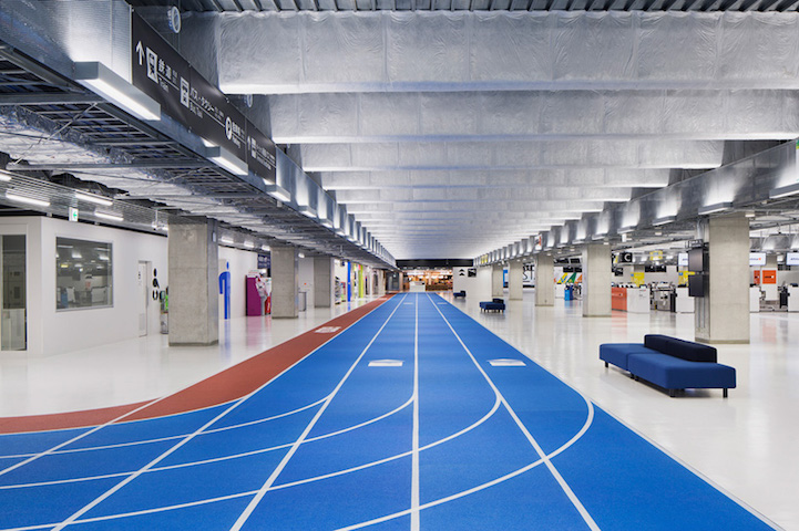 Airport with running track lanes