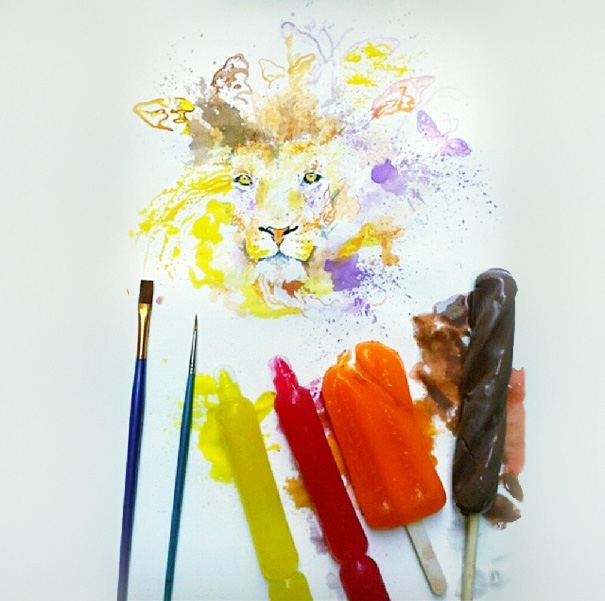 Beautiful Paintings Created With Ice-cream