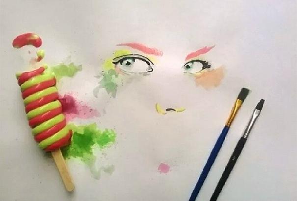 Beautiful Paintings Created With Ice-cream