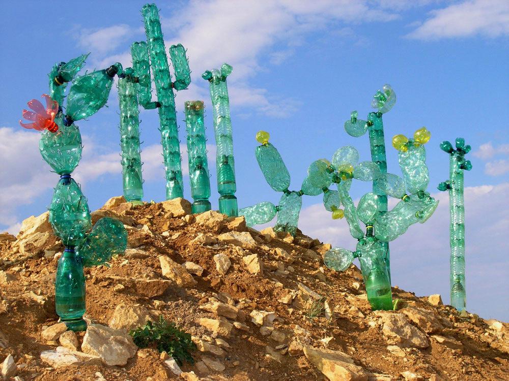 Recycled PET Plastic Bottle Plant Sculptures