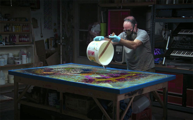 Psychedelic Paint and Poured Resin Artworks