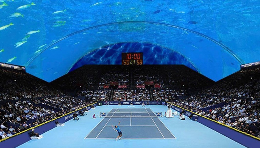 Underwater tennis courts