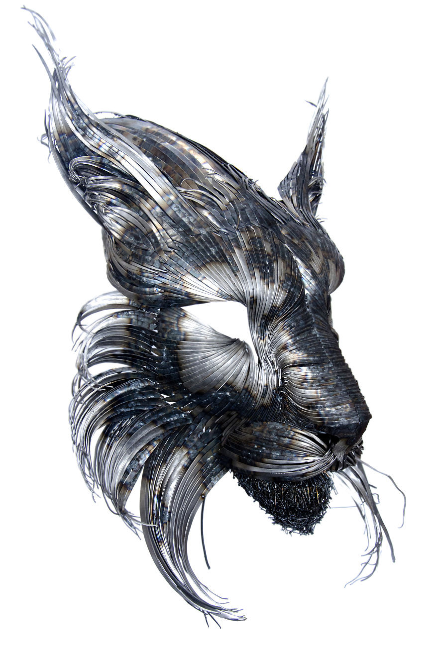 Animal masks made of forged steel