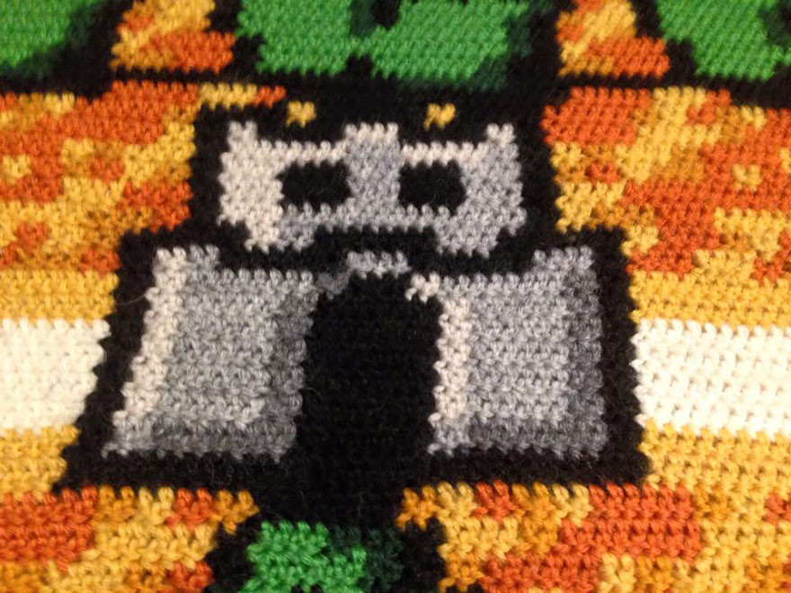 Knitted map from Super Mario Bros.3