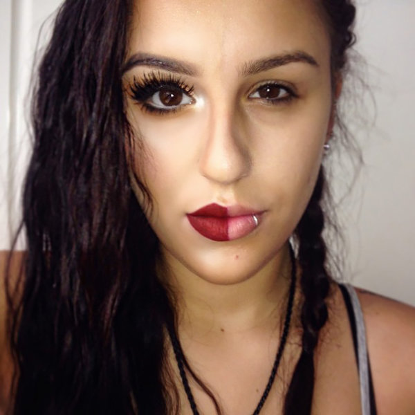 New trend: make up on one half of the face