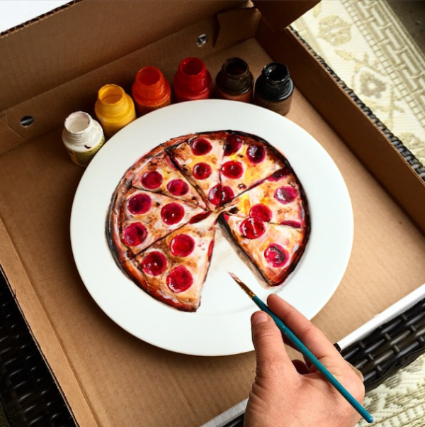 Realistic paintings on plates