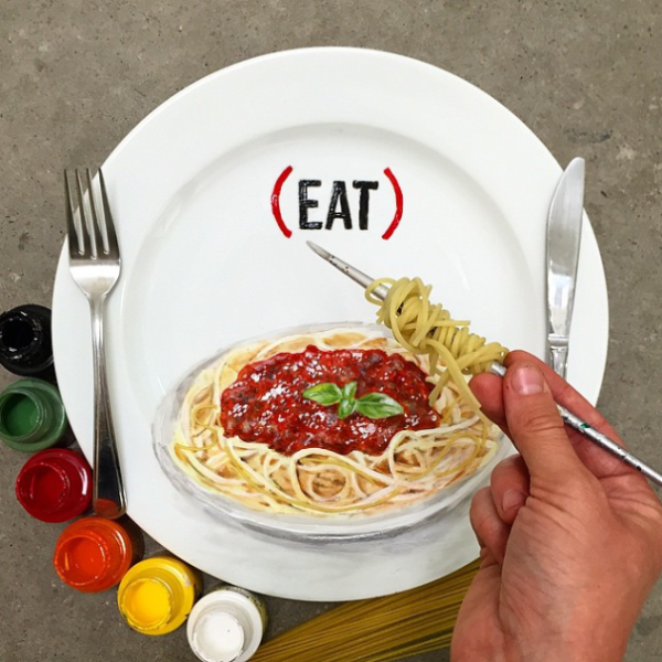 Realistic food paintings on plates