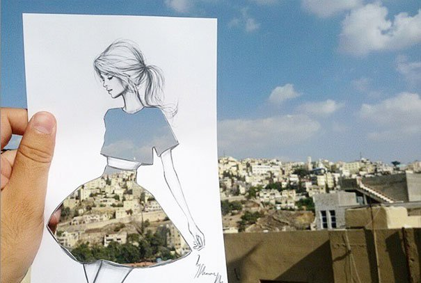 Amazing sketches with color background