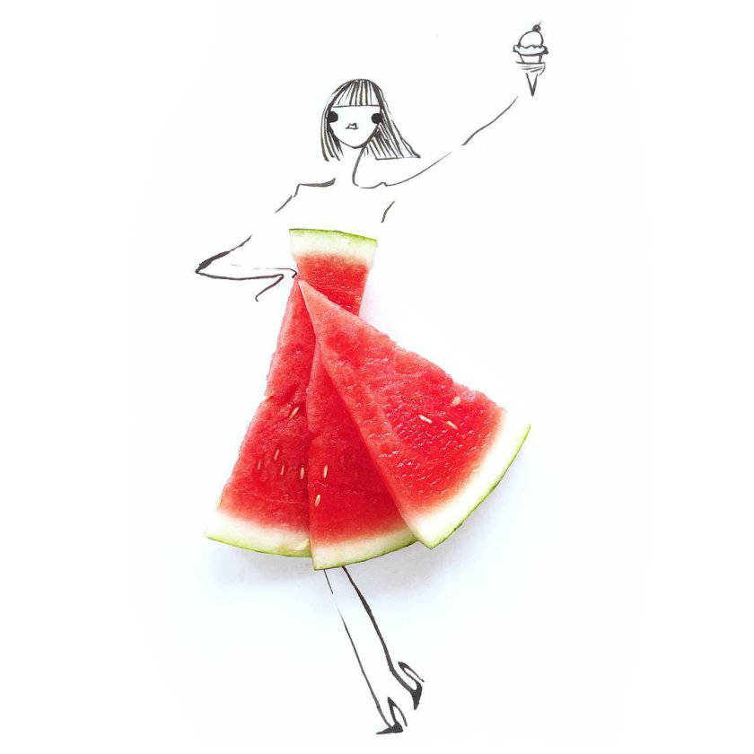 Stunning dresses made of fruits and vegetables