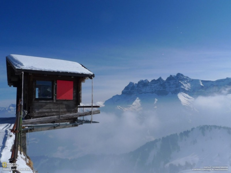6. Little House on the height of 2000 meters in the ski resort in Switzerland