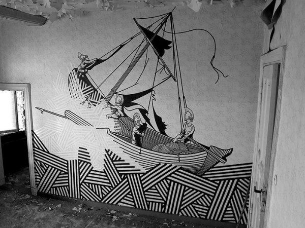 Street art made with electrical tape 3