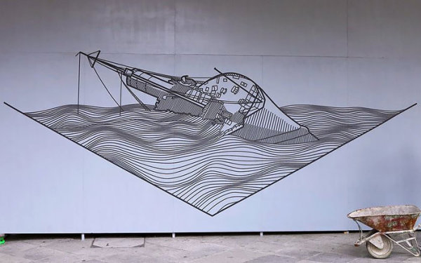 Street art made with electrical tape 4