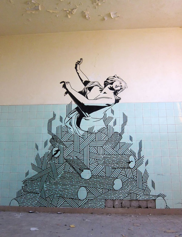 Street art made with electrical tape 5